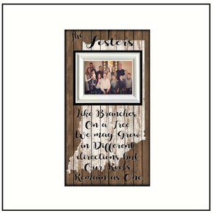 Moving Away Gift ~ Indiana Family Picture Frame ~ State Pride Home Decor ~ Like Branches on a Tree ~ Generations ~ Long Distance Family - MemoryScapes Personalized and Customized Picture Frame