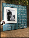 Rustic Wedding ~Gifts for Mother and Father ~Thank You Parents Gift ~Mother of the Bride~ Personalized Wedding Frame ~ Parents Are Neither - MemoryScapes Personalized and Customized Picture Frame