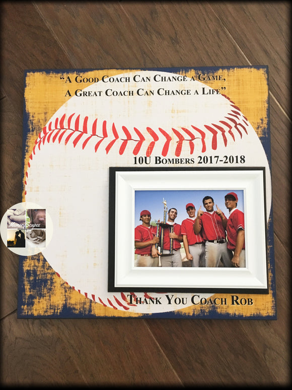 Baseball Coach Gift , Coach Appreciation , Softball Coach Gift , Coach Thank You , End Of Season Gift , Personalized Team Frame - MemoryScapes Personalized and Customized Picture Frame