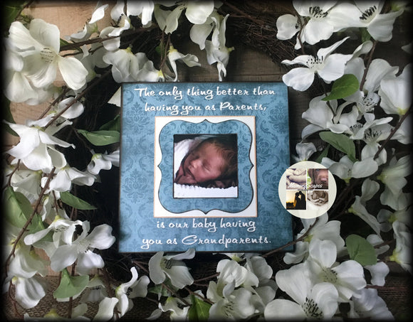 Grandparents Pregnancy Reveal ~ Sonogram Photo ~  Picture Frame ~ New Grandparents To Be ~ Reveal to Mom ~ New Baby | #32 - MemoryScapes Personalized and Customized Picture Frame