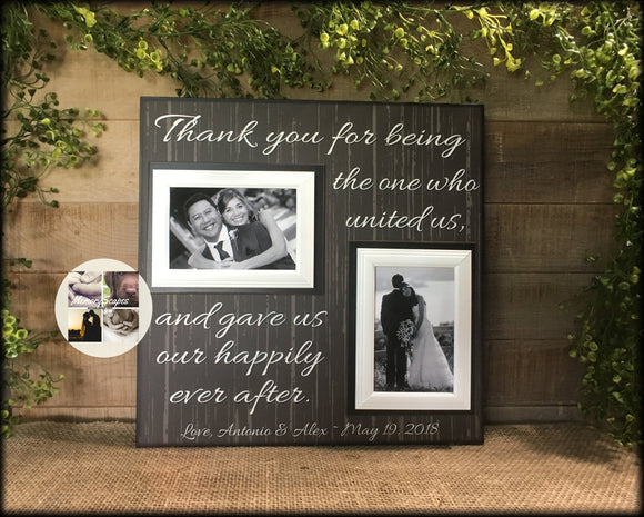 WEDDING OFFICIANT GIFT,  Free Design Proof and Personalization, Thank You for being the One , Gave Us Our Happily Ever After-#52 - MemoryScapes Personalized and Customized Picture Frame