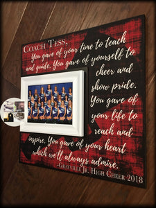 Cheer Coach Gift , Cheerleading Coach Gift , Coach Appreciation Gift , Coach Thank You , End Of Season Gift , Personalized Team Frame, - MemoryScapes Personalized and Customized Picture Frame