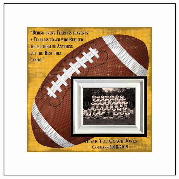 Football Coach Gift , Coach Appreciation , Custom Coach Picture Frame , Coach Thank You , End Of Season Gift , Personalized Team Frame - Memory Scapes