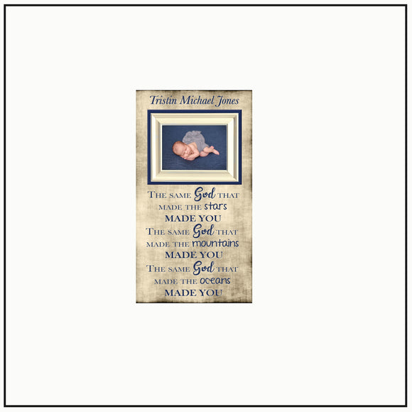 Godchild Christmas Gift | Godmother Christmas Present | Baptism Frame | Baby Dedication Gift | Christian New Baby Gift | The Same God That - Memory Scapes