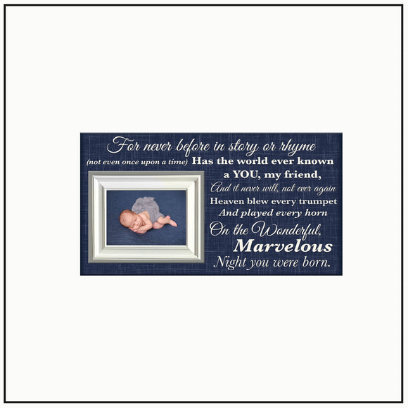 First Birthday Gift | Godchild Christmas Present | Baptism Frame | Baby Dedication Gift | Christian Baby Gift | For Never Before In - MemoryScapes Personalized and Customized Picture Frame