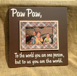 "Gift for Grandpa LIMITED EDITION PLAID "" To the world you are one person..."" Magnetic Photo Frame Grandparents Christmas Gift - MemoryScapes Personalized and Customized Picture Frame"