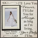 Wedding Frame for Mom ~ Wedding Thank You Gift From Bride ~ Gift to Mother Of The Bride Frame ~ I'll Love You Forever...Your Baby I'll Be ~ - MemoryScapes Personalized and Customized Picture Frame