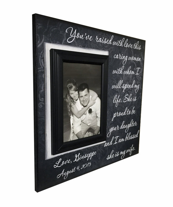Gift to In-Laws From Groom~She Is Proud To Be Your Daughter~ Thank You Gift From Groom ~ Blessed She Is My Wife ~ Personalized Frame - MemoryScapes Personalized and Customized Picture Frame