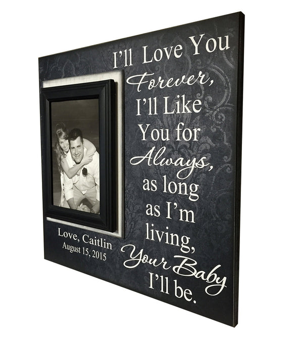 Wedding Frame for Mom ~ Wedding Thank You Gift From Groom ~ Gift to Mother Of The Bride Frame ~ I'll Love You Forever...Your Baby I'll Be ~ - MemoryScapes Personalized and Customized Picture Frame