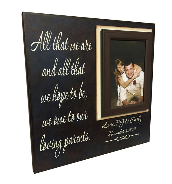 Personalized Picture Frame | Wedding Thank You | Parents Gift | Rustic Wedding | Navy Wedding | All That We Are | Wedding Picture Frames - MemoryScapes Personalized and Customized Picture Frame