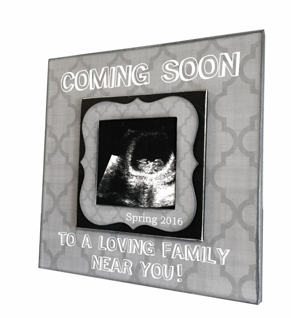 PREGNANCY REVEAL IDEA ~ Sonogram Photo ~ Ultrasound Picture Frame ~Baby Reveal Idea to Grandparents~ Coming Soon to a Loving Family Near You - MemoryScapes Personalized and Customized Picture Frame