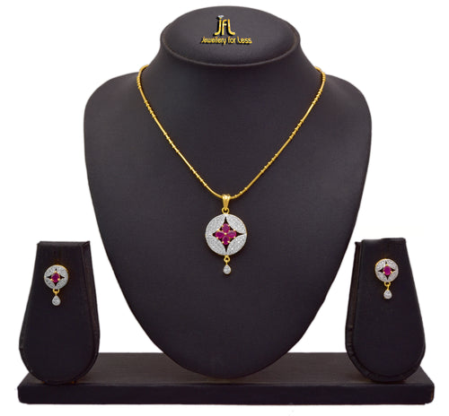 JFL - Fusion Ethnic One Gram Gold Plated Cz American Diamond Semi Precious Ruby Pink Stone Designer Pendant Set for Women & Girls.