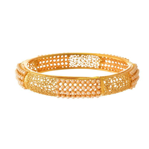 Traditional Ethnic One Gram Gold Plated Pearls Designer Bangle Set for Women & Girls
