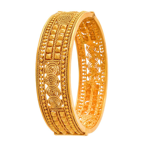 JFL -Traditional Ethnic One Gram Gold Plated Openable Kada for Women.