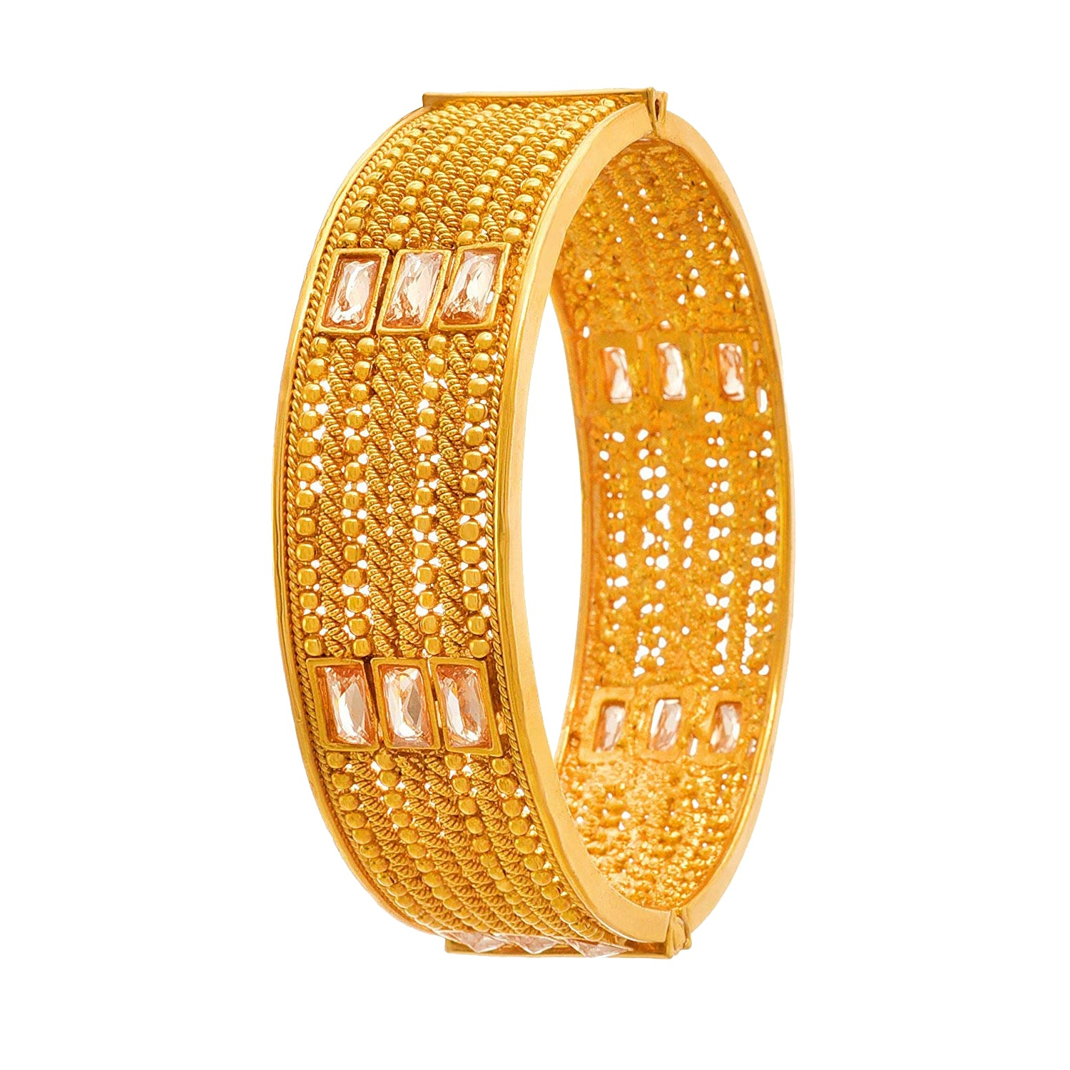 JFL-Traditional & Ethnic One Gram Gold Plated LCD Diamond Designer Openable Kada for Women & Girls