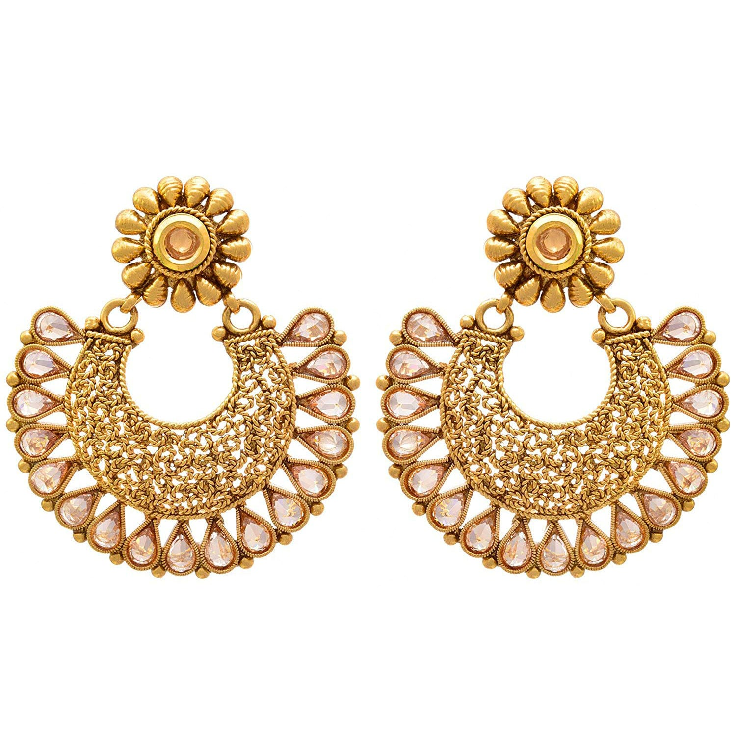 Traditional Ethnic Polki Diamond Kundan Designer One Gram Gold Plated Earring for Women & Girls. (Champagne Color)