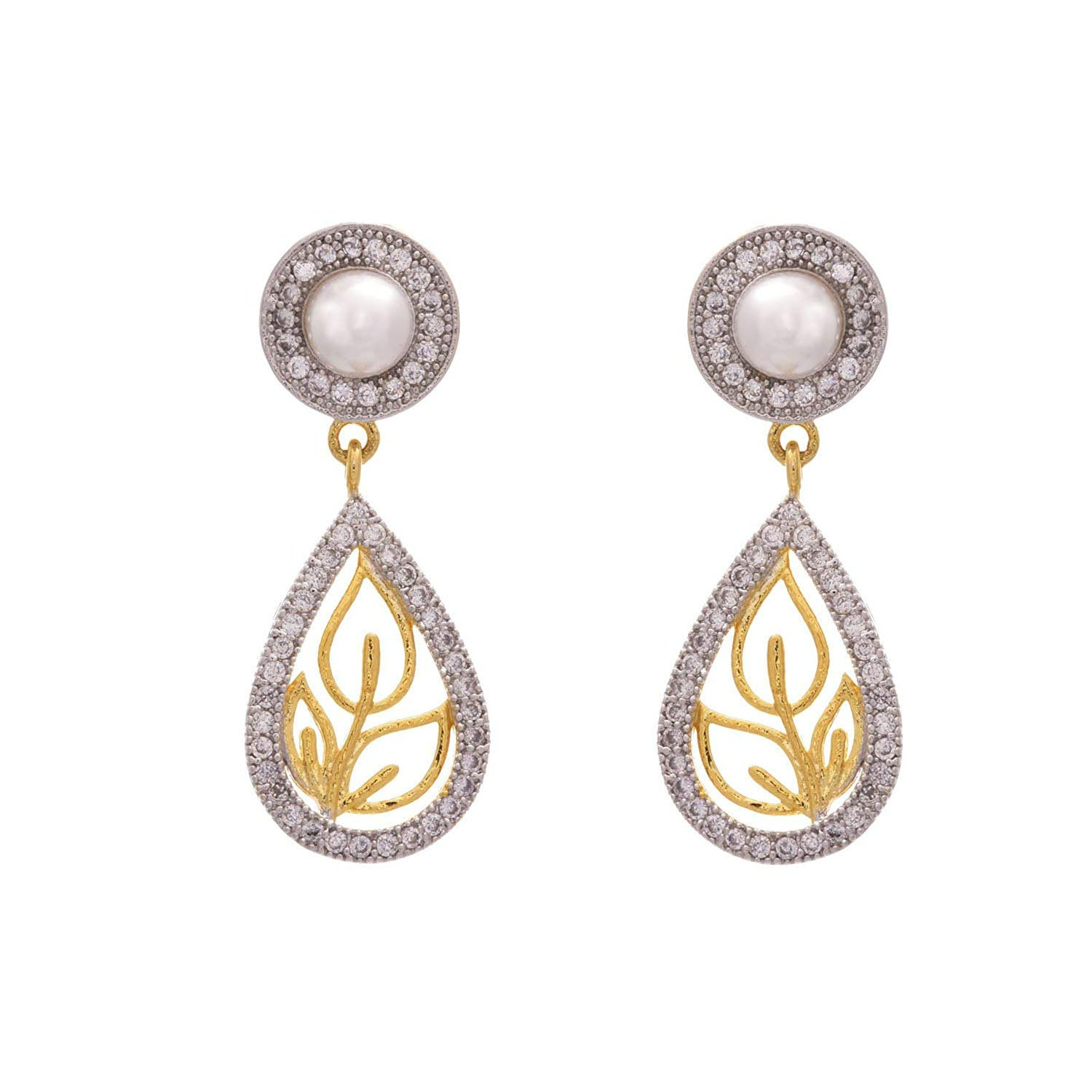 Elegant One Gram Gold Plated White Cz Diamond Designer Earring for Girl & Women
