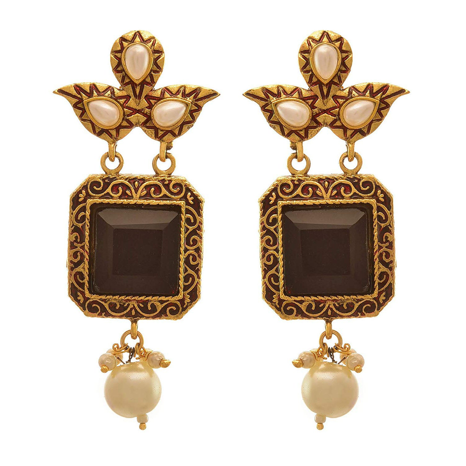 Jewellery for Less Traditional Ethnic One Gram Gold Plated Purple Emerald Earring For Women & Girls.