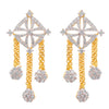 Fusion Ethnic One Gram Gold Plated Cz American Diamonds Designer Earring for Women & Girls.