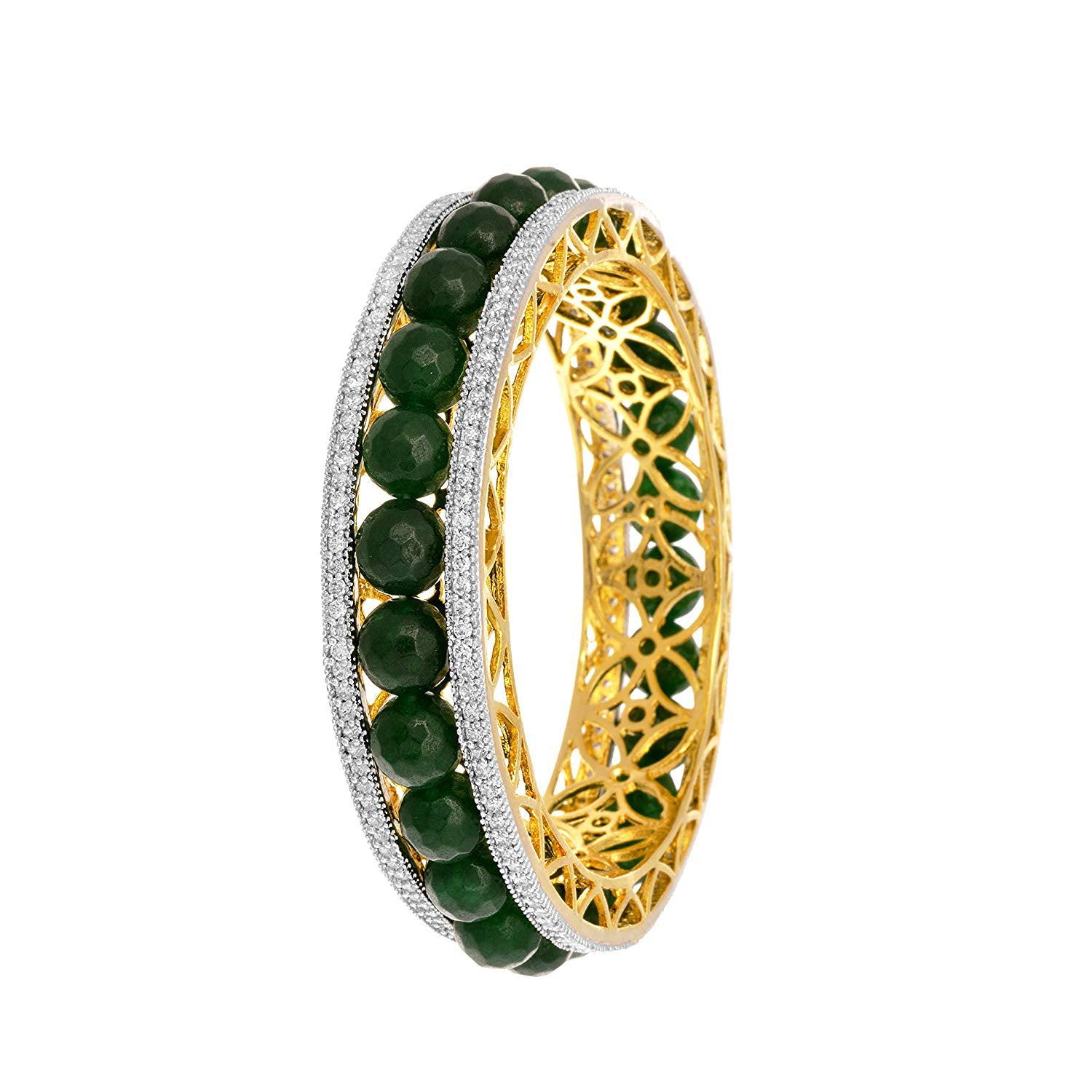 JFL -  Fusion Ethnic Changeable Four in One American Cz Diamond Designer One Gram Gold Plated Bangles for Women