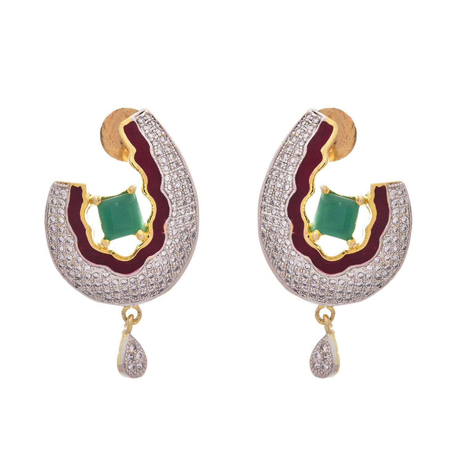 Charismatic Red n Green One Gram Gold Plated Cz Diamond Designer Earrings for Girl & Women