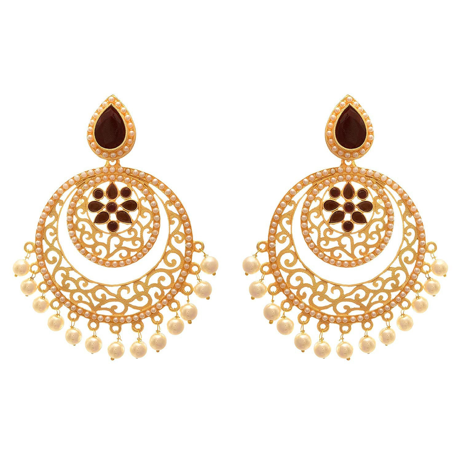 Jewellery for Less Traditional And Ethnic One Gram Matt Gold Plated Stone & Pearls Designer Earring For Girls And Women. (Purple)