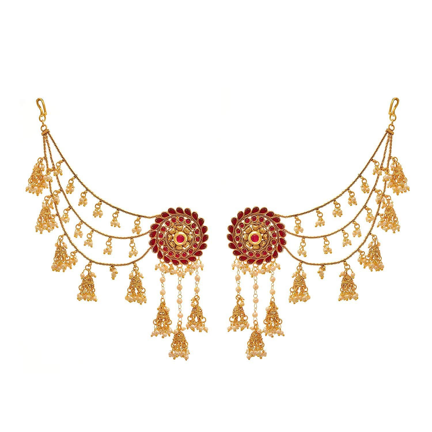 Jewellery for Less Traditional Ethnic 1gm Gold Plated Pink Stone & Pearl Bahubali Jhumki/Jhumka Earrings for Girls and Women.