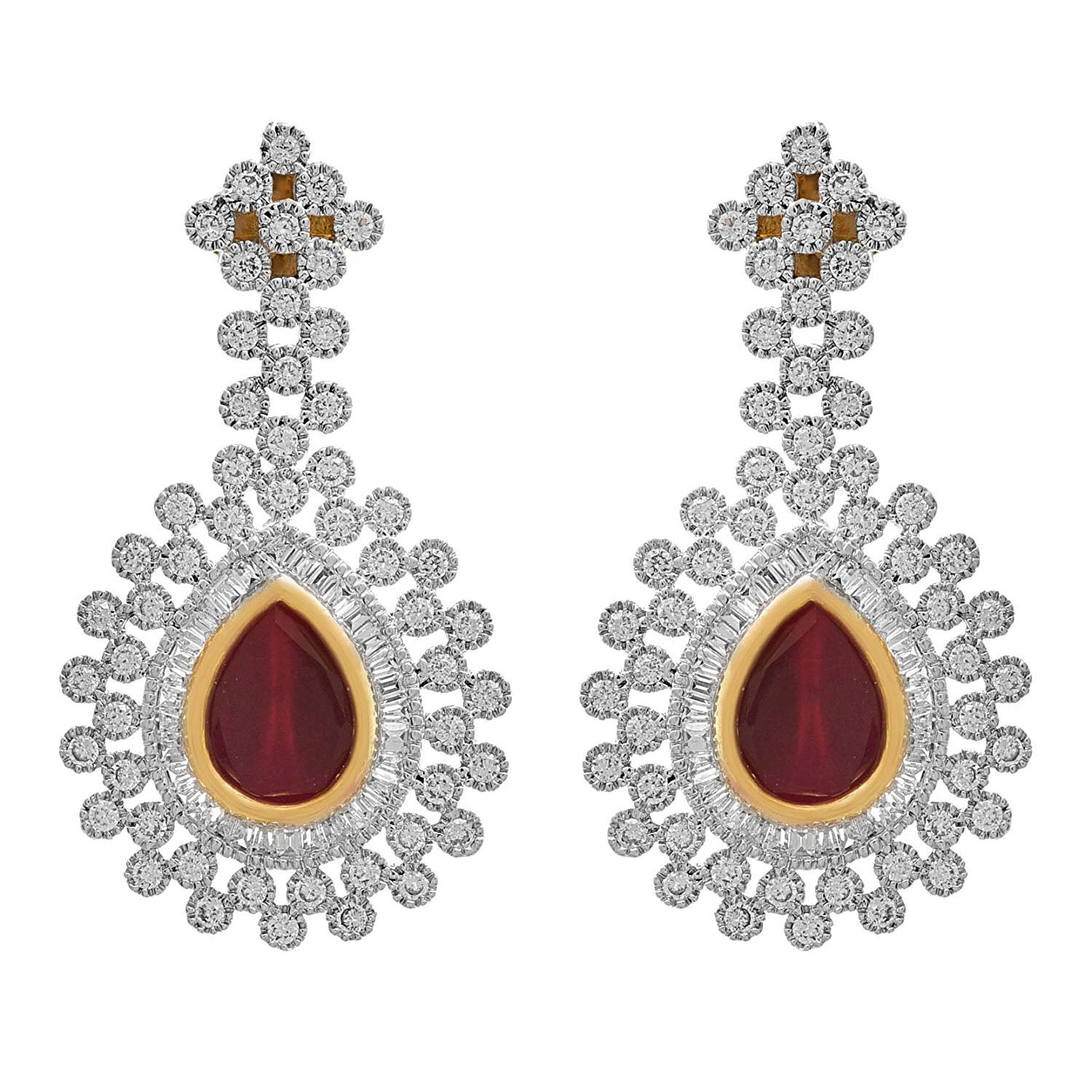 Fusion Ethnic One Gram Gold Plated CZ American Diamond Multicolor Stone Designer Earring For Women & Girls.