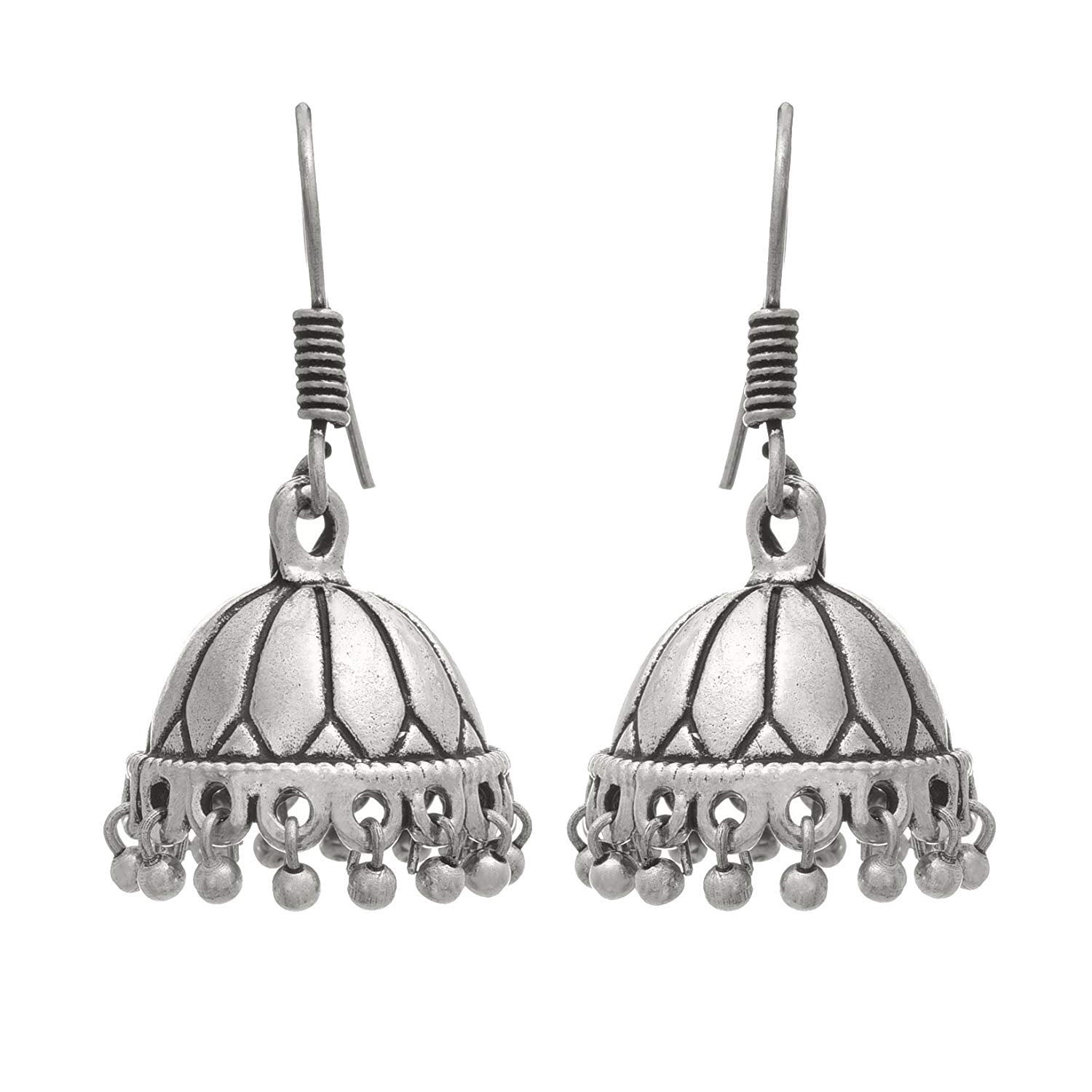 Traditional Ethnic Handmade German Silver Plated Oxidised Bead Designer Earring For Women & Girls. (Silver)