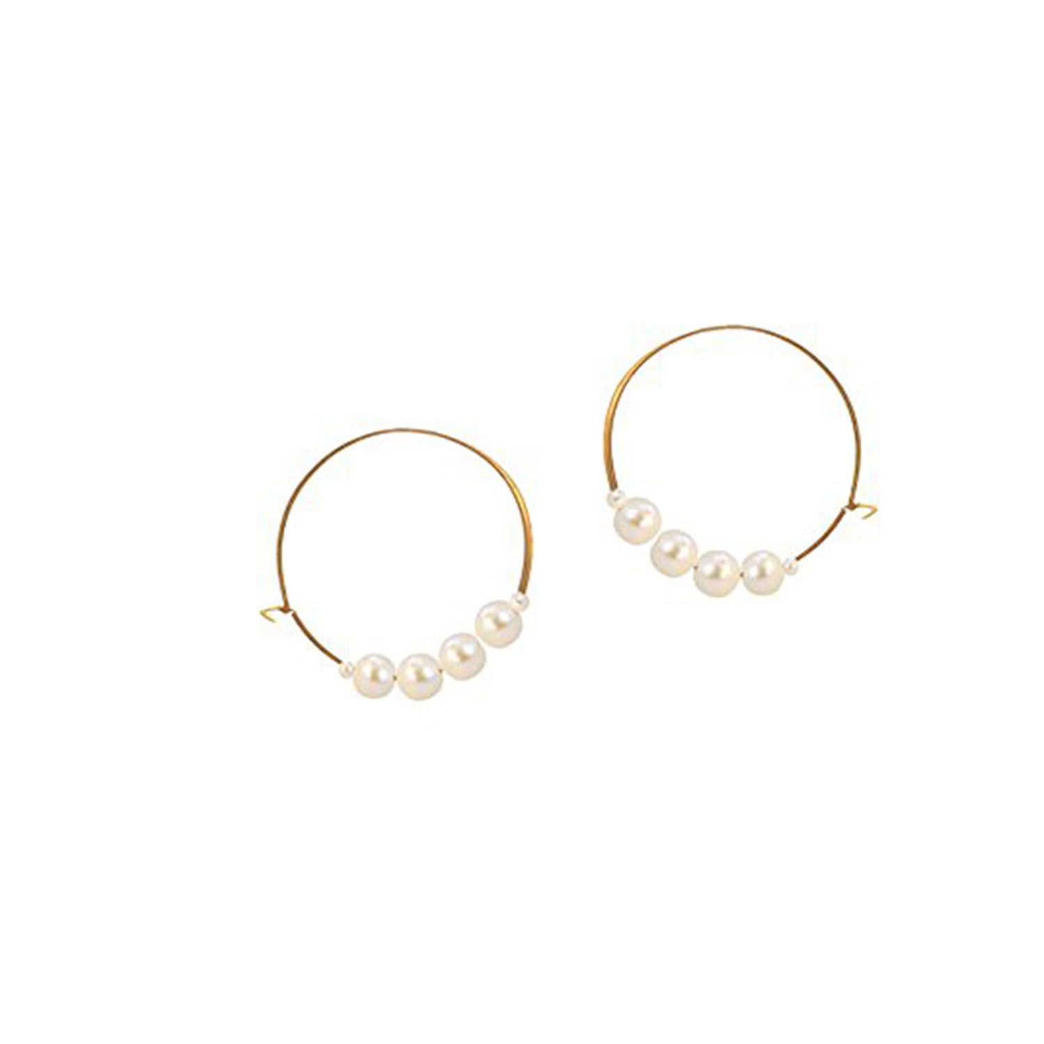 JFL-Cream Gold Plated Pearl Designer Bali Earrings for Women
