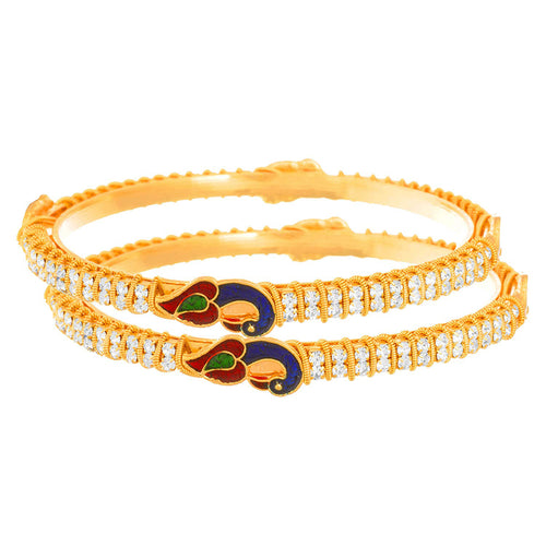 JFL- Traditional Exquisite Peacock Designer One Gram Plated Red Green & Blue Meenakari Diamonds Designer Bangle for Women & Girls