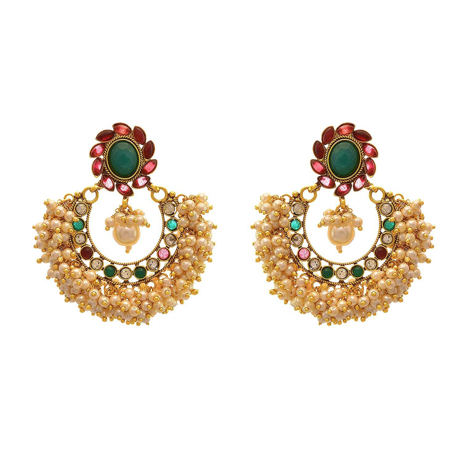 Jewellery for Less Traditional Ethnic One Gram Gold Plated Pearl & Diamond Designer Earrings For Women & Girls.