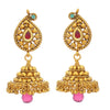 Traditional Ethnic One Gram Gold Plated Pink Stone Designer Jhumki Earring for Women & Girls.