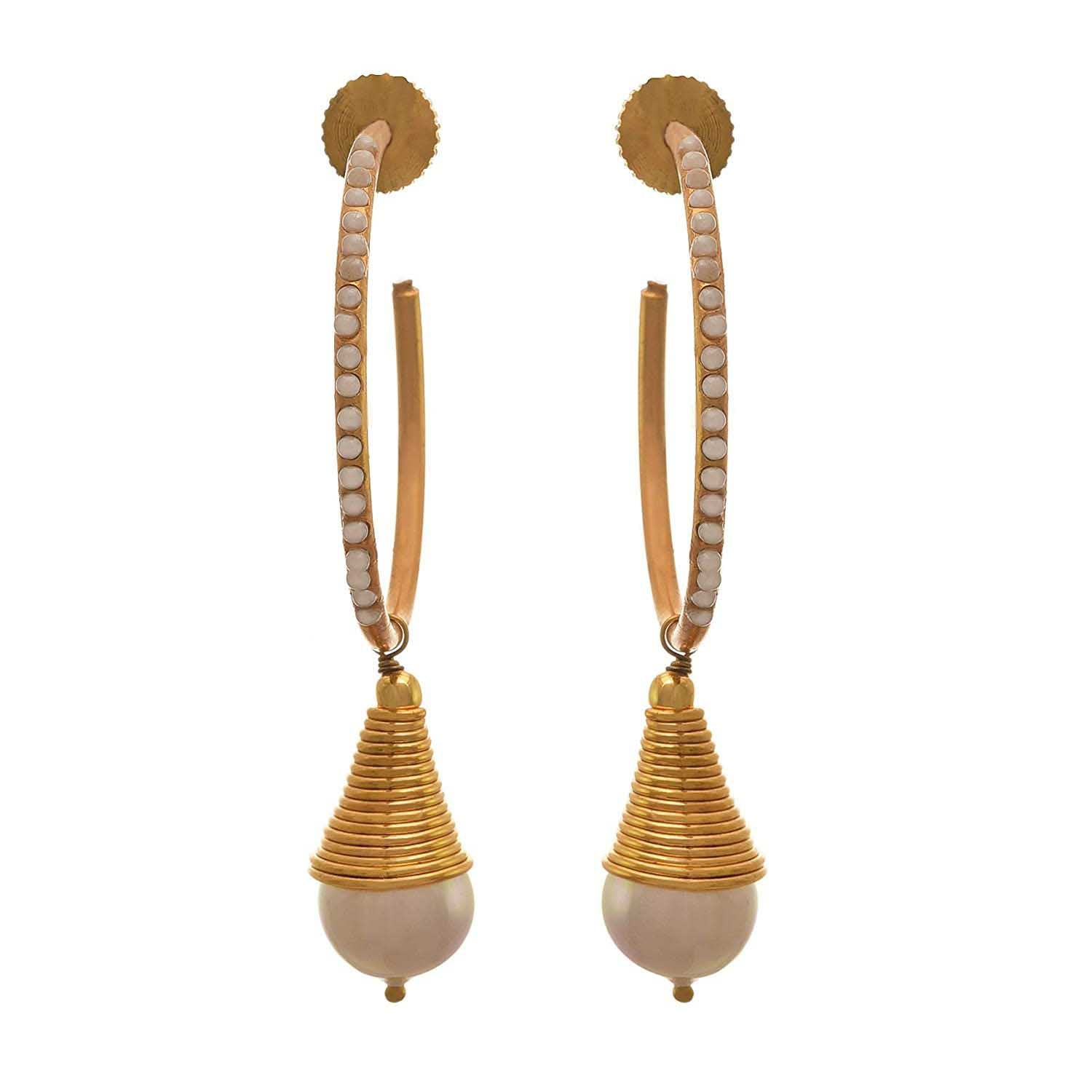 JFL - Traditional Ethnic One Gram Gold Plated Pearls Designer Earring for Women & Girls.