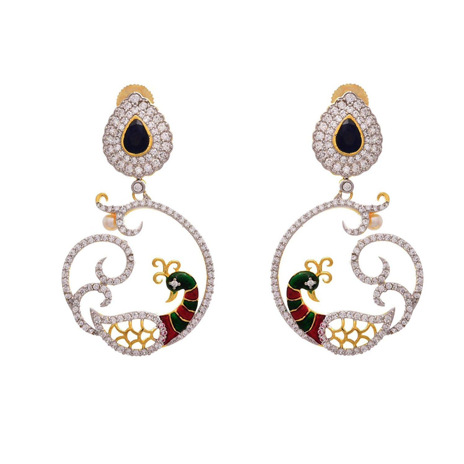 Seductive Beauty Peacock Designer Blue One Gram Gold Plated Cz Diamond Earring for Women and Girls.