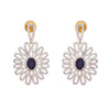 Fab Floral Blue One Gram Gold Plated Cz Diamond Earrings for Women