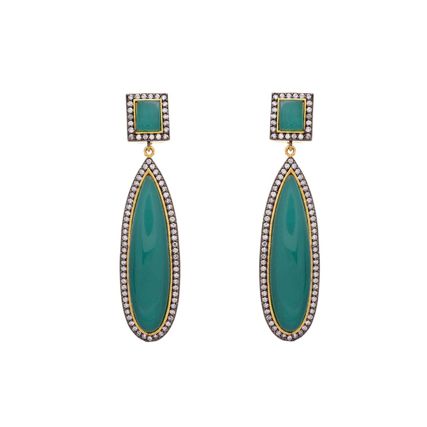 Fusion Ethnic One Gram Gold Plated Cz American Diamond Green Designer Earring for Women & Girls
