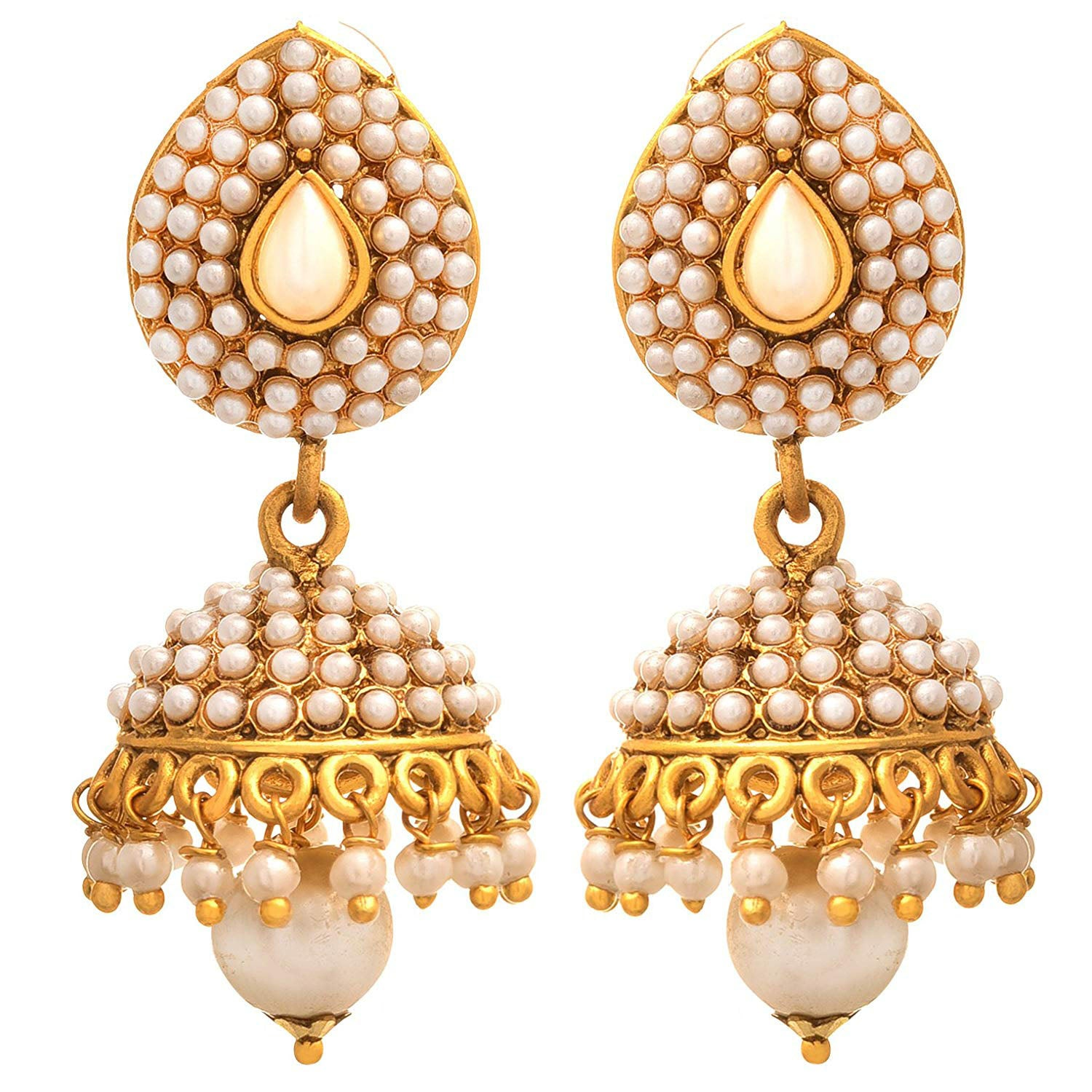 Traditional Ethnic One Gram Gold Plated Pearl Designer Jhumka Earring For Women & Girls.