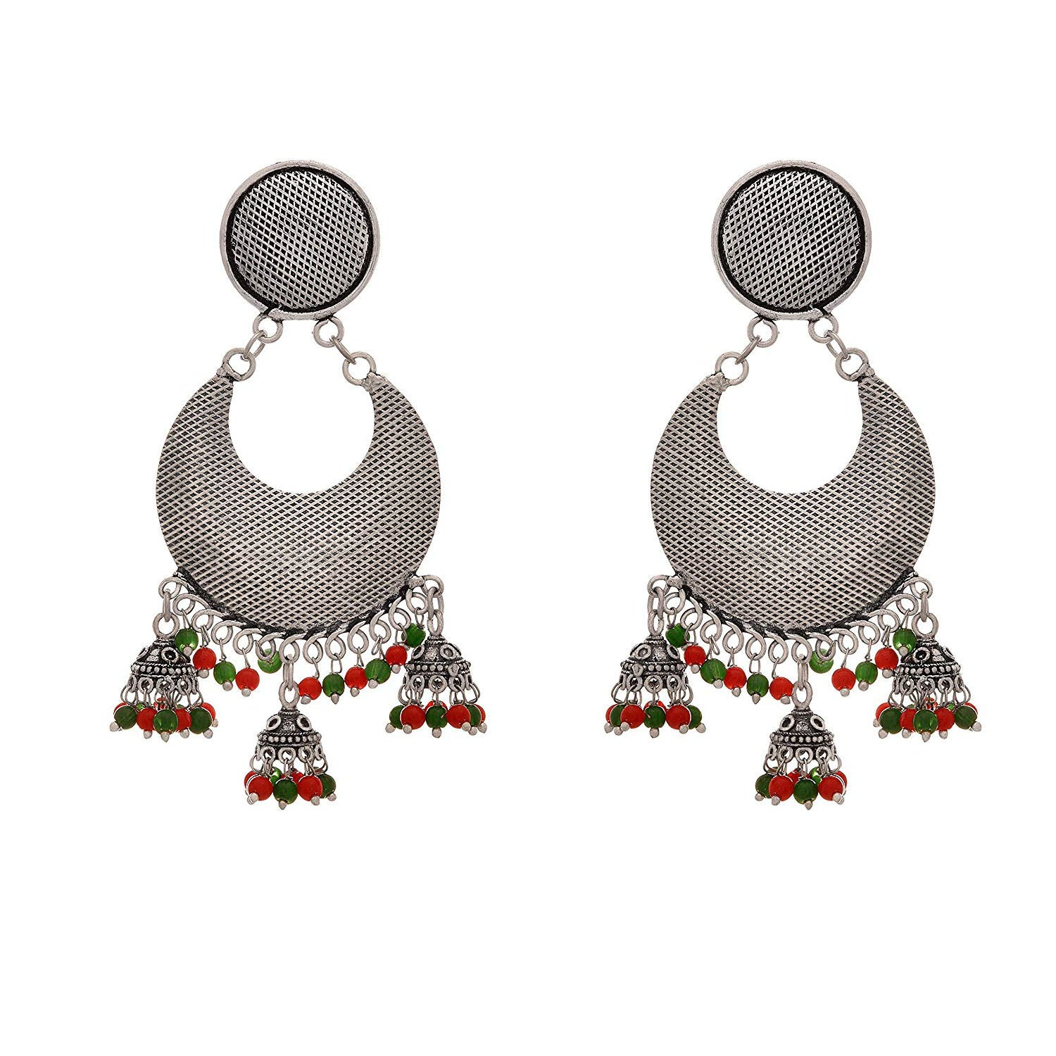 JFL - Traditional Ethnic Handmade German Silver Plated Oxidised Chandbali Earring for Women & Girls.