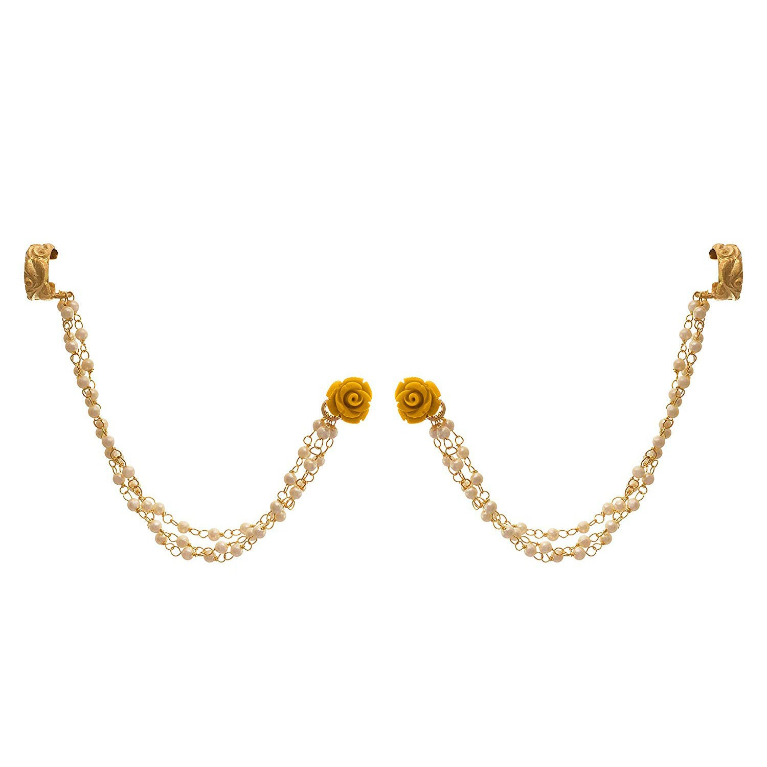 Jewellery for Less Traditional Ethnic One Gram Gold Plated Pearl & Floral Designer Earcuff Earring for Women & Girls (Yellow)