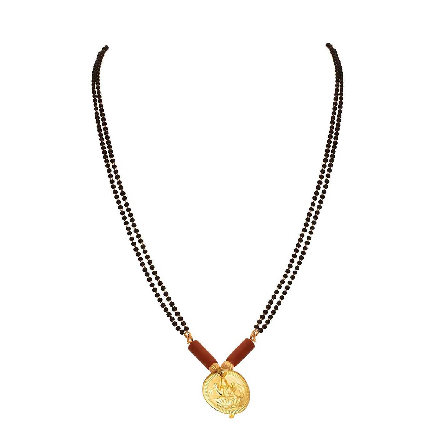JFL- One Gram Gold Plated Mahalaxmi Coin Designer Mangalsutra for Woman and Girls