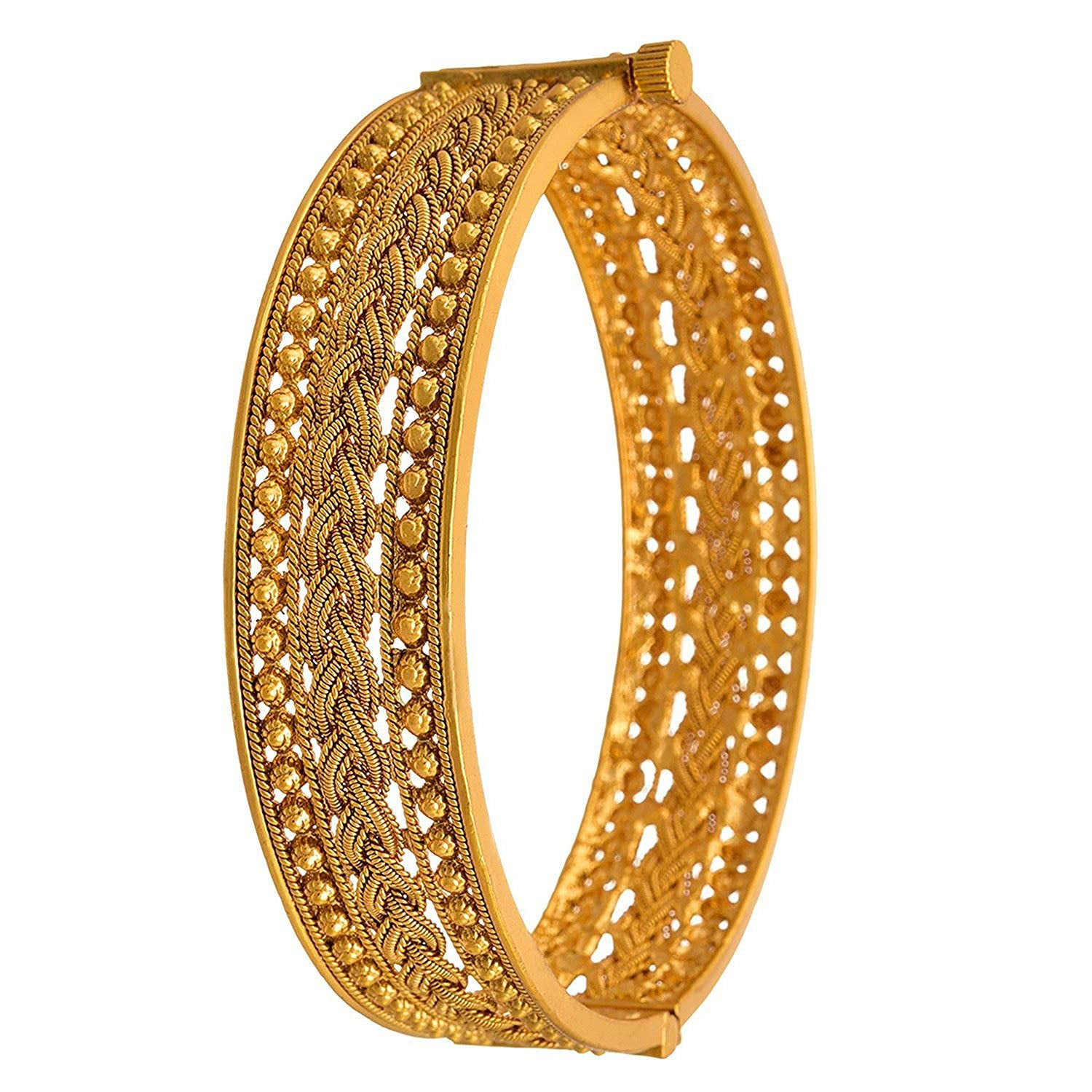 Jewellery For Less Traditional Ethnic One Gram Gold Plated Openable Kada Bangle For Women