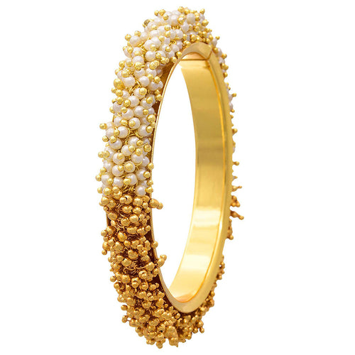 JFL -Traditional & Ethnic One Gram Gold Plated Pearl & Gold Bead Leheriya Designer Bangle for Women & Girls
