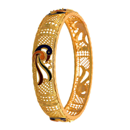 JFL-Traditional Ethnic Fusion One Gram Gold Plated Meenakari Peacock Designer Bangle for Women & Girls