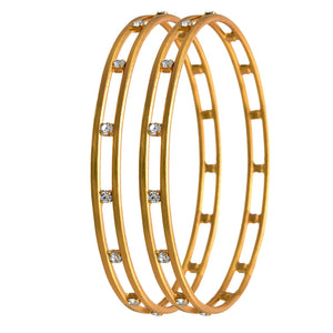 White and Gold White Austrian Diamond Copper Bangle Set for Women