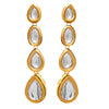 JFL - Traditional Ethnic One Gram Gold Plated Polki Diamond Designer Earrings for Girls & Women.