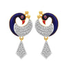 JFL- Fusion Ethnic One Gram Gold Plated Meenakari Enamel Peacock Cz American Diamond Designer Earrings for Women and Girls. (Golden)