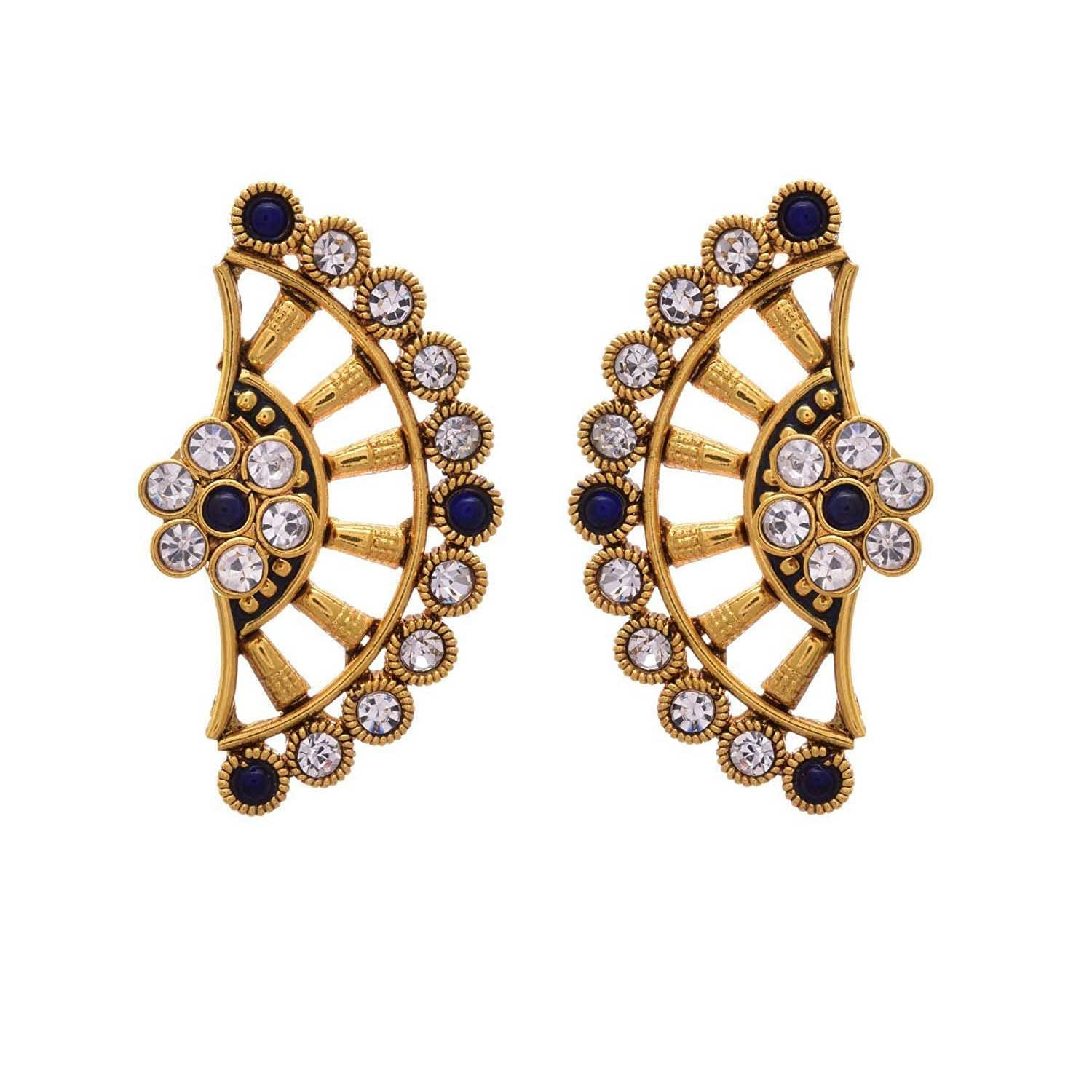 8adcb0f4d JFL - Traditional Ethnic One Gram Gold Plated Diamond Designer Earring for  Women & Girls