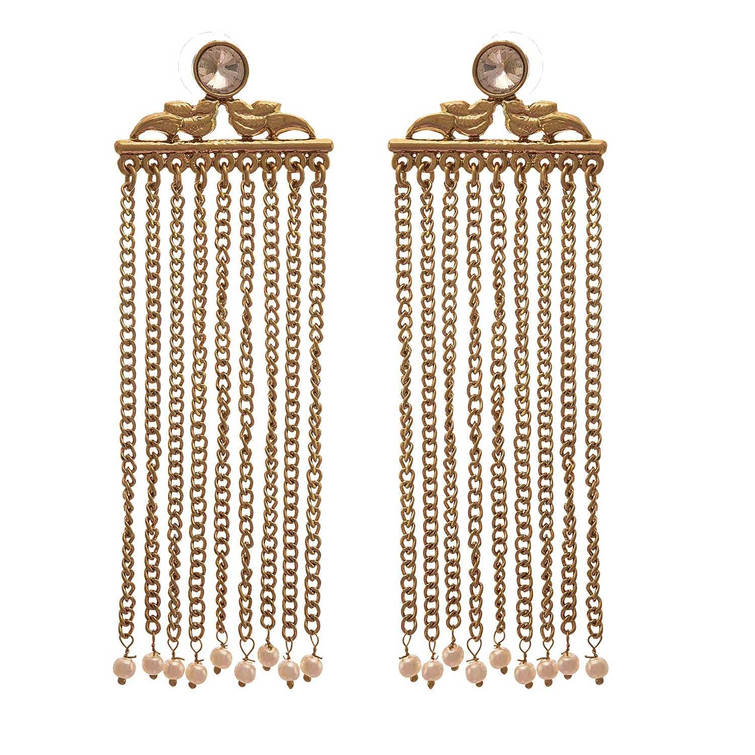 JFL - Jewellery for Less Traditional Ethnic One Gram Gold Plated Diamond Designer Earring For Girls And Women.