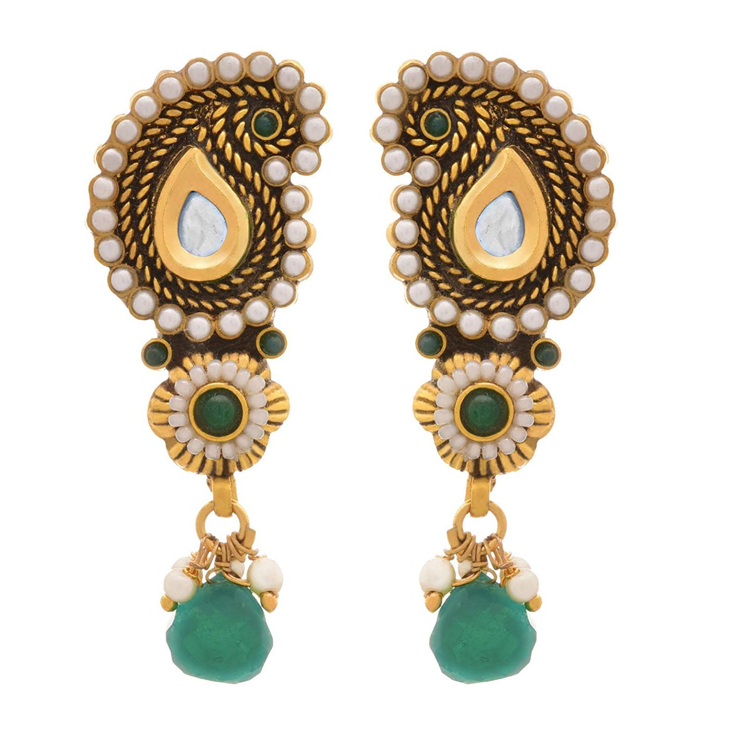 JFL - Traditional & Ethnic One Gram Gold Plated Designer Earring with Stone & Pearls for Women & Girls